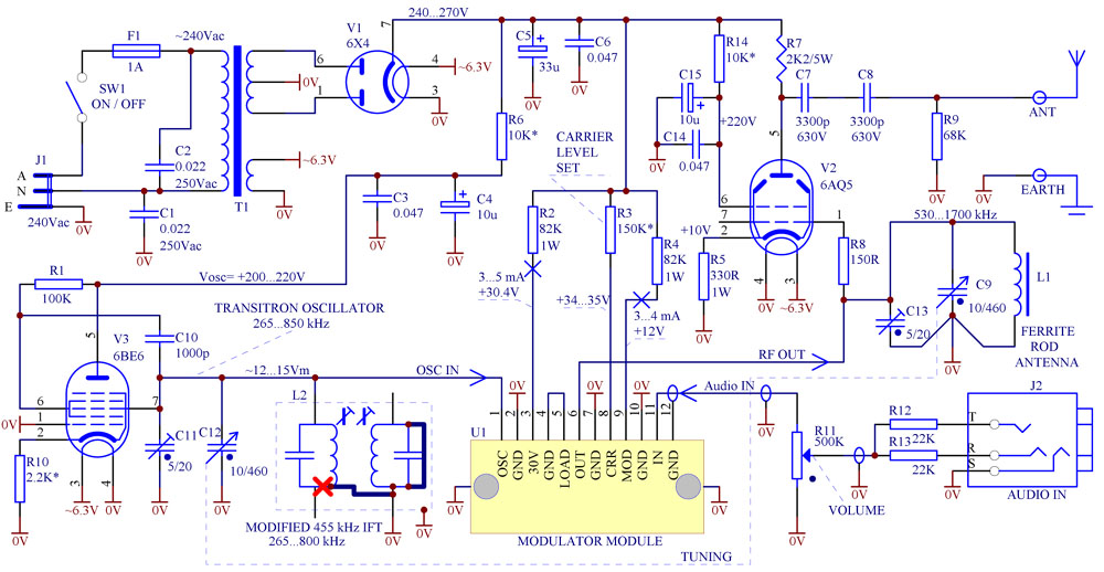 AM Modulator - valve transmitter - Valve Radio on vacuum tube schematic diagram, vacuum cleaner wiring diagram, vacuum pump wiring diagram, vacuum tube heater diagram, t8 tube wiring diagram,
